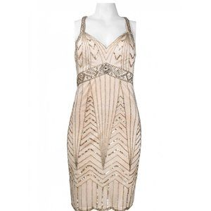 Sue Wong Multi Back Strap Beaded Empire Dress